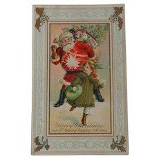 Little Girl Hitting Santa With Snowball Christmas Postcard