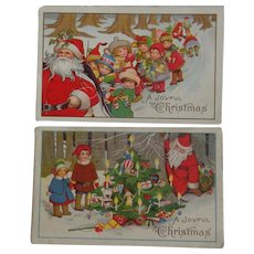 2 Christmas Postcards Children Santa toys Tree 1919 Free Shipping to USA & Canada