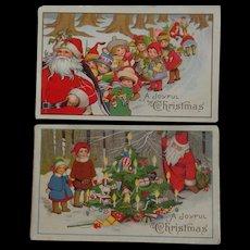 2 Christmas Postcards Children Santa toys Tree 1919 Free Shipping to USA & Canada