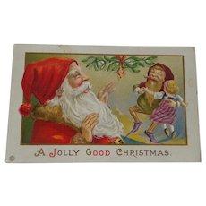 Christmas Postcard Santa Elf Dancing With Doll