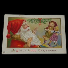 Christmas Postcard Santa Elf Dancing With Doll Free Shipping
