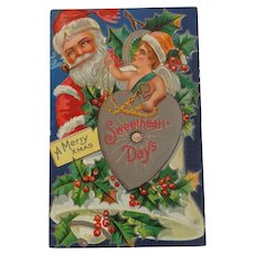 Christmas Postcard Santa Smoking Pipe Sweetheart Days