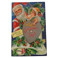 Christmas Postcard Santa Smoking Pipe Free Shipping