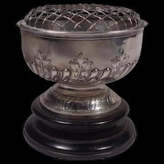 Mappin & Webb Sterling Rose Bowl on Plinth 1909 London Sheffield