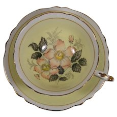 Paragon Cup & Saucer Pale Yellow Ground Flowers Gold Trim Double Warrant Stamp