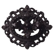 Victorian Mourning Vulcanite Brooch Pin