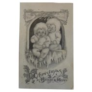 Vintage Christmas Postcard Snowbabies A Christmas Bright and Merry