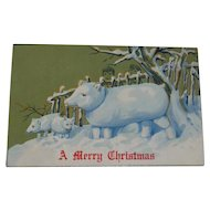Vintage Christmas Postcard Snow Pig Family