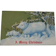 Vintage Christmas Postcard Snow Pig Family Free Shipping to Canada and the USA