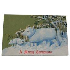 Vintage Christmas Postcard Snow Pig Family