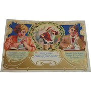 Vintage Christmas Postcard Santa Young Lovers Free Shipping to Canada and USA