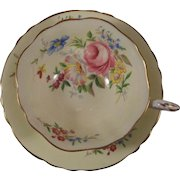 Paragon Cup & Saucer White Cream Ground Flowers Gold Trim