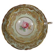Paragon Cup & Saucer White Green Ground Flowers Gold Trim Double Warrant