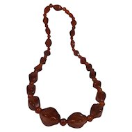 Chunky Amber Graduated Beads Necklace 70g