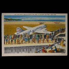 New York La Guardia Air Port United Air Lines Miller Art Co Inc Halftone Postcard