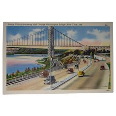Colourpicture Publication Linen Postcard New York City Washington Bridge
