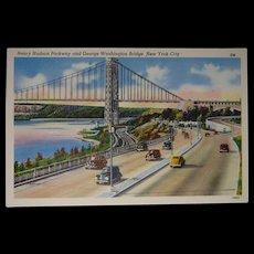 Colourpicture Publication Linen Postcard New York City Washington Bridge