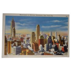 Colourpicture Publication Linen Postcard New York City Skyscrapers Manhattan