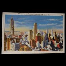 Colourpicture Publication Linen Postcard New York City Skyscrapers Manhattan
