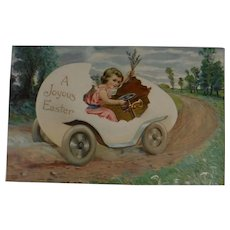 A Joyous Easter Postcard Girl Driving Egg Car
