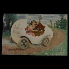 A Joyous Easter Postcard Girl Driving Egg Car