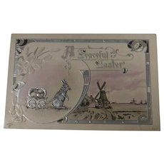 A Peaceful Easter Split Scene Bunny Pulling Eggs Wagon Windmill Embossed