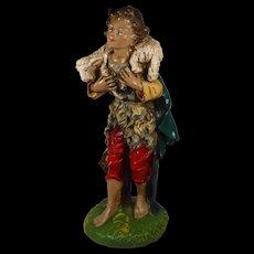 Fontanini Large Nativity Figure Shepherd Boy with Lamb Paper Mache Italy