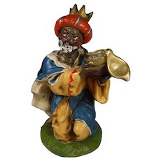 Fontanini Large Nativity Figure Kneeling Wise Man Paper Mache Italy