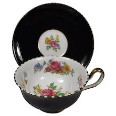 Royal Chelsea Bone China Cup Saucer Black with Flowers and Gold Trim