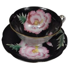 Shafford Hand Decorated Cup Saucer Black Floral
