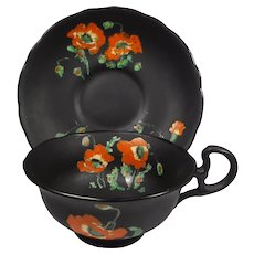 Atlas Bone China Cup Saucer Poppies on Black