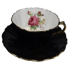 Wetley Rose Old Royal Bone China Cup Saucer Black Floral