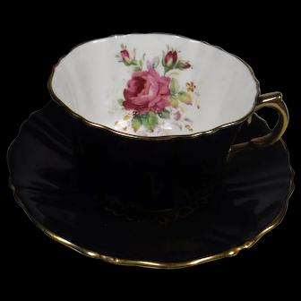 Wetley Rose Old Royal Bone China Cup Saucer Black Floral