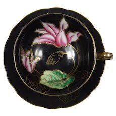 Wako Cup and Saucer Floral on Black