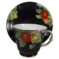 Royal York England Cup Saucer Floral on Black