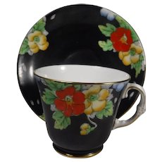 Royal York England Cup Saucer Floral on Black