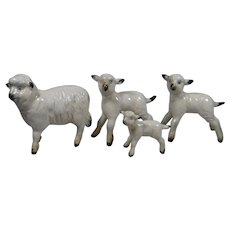 4 Older Beswick Sheep Lamb Ewe England