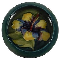 Small Moorcroft Hibiscus Green Blue Bowl