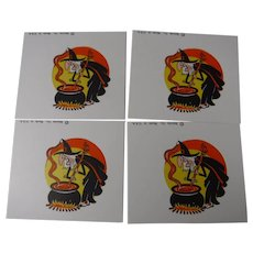 4 x Beistle Halloween Place Cards Name Cards Unused Old Stock