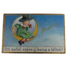 Tuck's 1912 Halloween Postcard It's Awful Scare-y Being A Witch