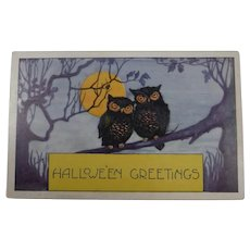Vintage Whitney Halloween Postcard Owls Full Moon