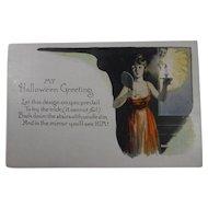 Vintage Halloween Postcard Woman Candle Mirror Future Husband