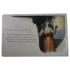 Vintage Halloween Postcard Woman Candle Mirror Future Husband