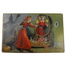 Tucks Halloween Postcard Girl Mirror Candle Witch Black Cat Pumpkin
