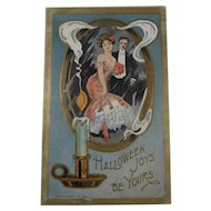 Vintage Halloween Postcard Woman Man Candle Mirror 1909