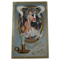 Vintage Halloween Postcard Woman Man Candle Mirror 1909