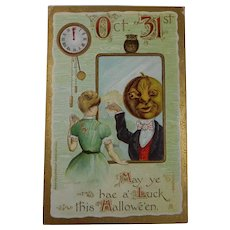 Vintage Halloween Postcard Woman Pumpkin Man Clock 1909 Hoffmann Art