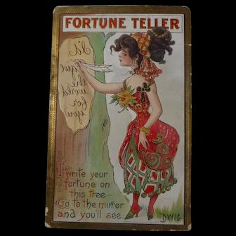 Vintage Halloween Postcard Fortune Teller