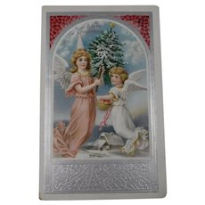 Vintage Embossed Christmas Postcard Angels Christmas Tree