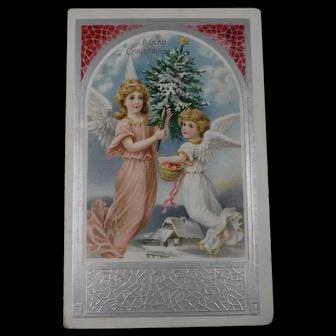 Vintage Embossed Christmas Postcard Angels Christmas Tree